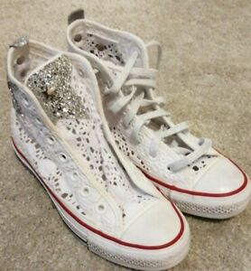 Girls Converse Limited Edition White Sparkle Size 3