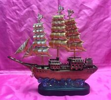 Beautiful  OLD SHIP Design Table Top Cigarette Lighter / Musical Box - Nice!!!