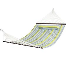 Double Person Size Hammock Quilted Fabric, Pillow, Outdoor Wood Spreader Bar NEW