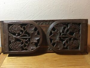 Oriental Antique/ Vintage  Bookends Sliding / Folding Carved Grapes/ Leaves.