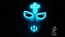 Neon Blue Gothic Cross Rave Handmade Light Up Rave Glow Halloween Costume MASK!