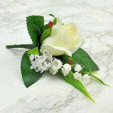 ARTIFICIAL SILK FLOWERS SINGLE DELUXE ROSE BUTTONHOLE IVORY & WHITE