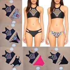 High Neck Crop Bikini Tribal Print Tops Teeny Cut Bottoms Swimwear Mix n Match