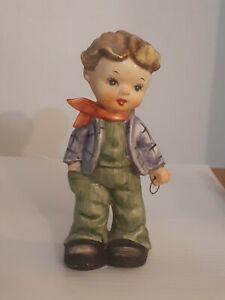 Hummel Like Boy Figurine Standing With Hand In Pocket Scarf Around Neck Big Boot