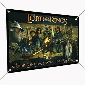 "Lord of the Rings Banner Sign 30"" x 24"", Backdrop 2.5' x 2' Gollum Frodo Gandolf"