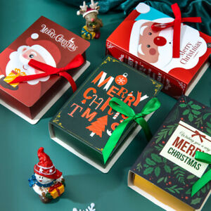 Christmas Party Bags Book Sweets Carrier Favour Candy Xmas Gift Boxes New