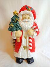 "Santa Claus Figurine 12"" Resin Red Coat Hat Green Tree Bells Christmas Decor"