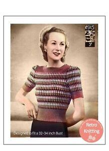 1940's Wartime Rainbow Striped Jumper Knitting Pattern Copy