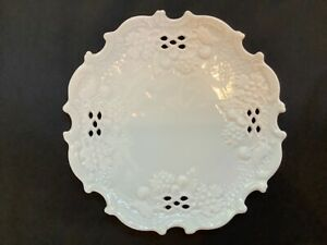 Raynaud Limoges Reticulated Scalloped Edge Cherries Bisque & Satin Glaze Plate