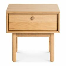NATSUMI JAPANESE SCANDINAVIAN WOODEN OAK BEDSIDE TABLE WITH DRAWER