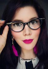 Slim Cat Eye BLACK Clear Crystals Sexy RETRO PInUP WaYfe Eyeglasses Frames 1317