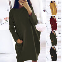 Womens Winter Jumper Long Sleeve Knitted Pullover Round Neck Loose Sweater Dress