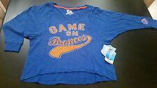 Women Boise State NWT M Game On Broncos Dolman Sleeve Bling Shirt