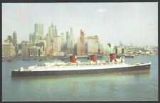 Cunard R.M.S. QUEEN MARY vintage colour postcard