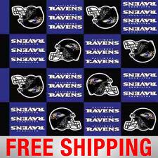 "Fleece Fabric Baltimore Ravens NFL Anti Pill 60"" Wide Free Shipping BAL-6386"