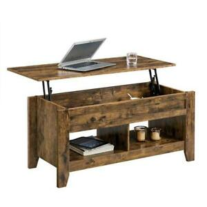Lift Top Coffee Table with with Hidden Storage Compartment & Lower Shelf Rustic