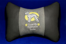 Embroidered car seat neck rest pillow - Bedlington Terrier. Gift for dog lovers.