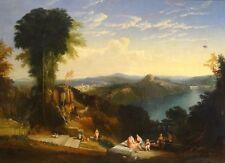 GRANDE 18th secolo CLASSICO ITALIANO Arcadian FANCIULLE Paesaggio dipinto ad olio