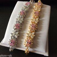 "GB Pink & white sapphires, yellow or white gold gf 7"" / 18cm bracelet Plum BOXED"