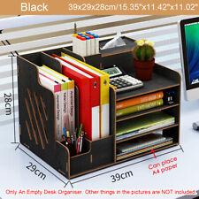 Wood Desk Organizer Desktop Storage Drawer Pen Box Office File Holder Container