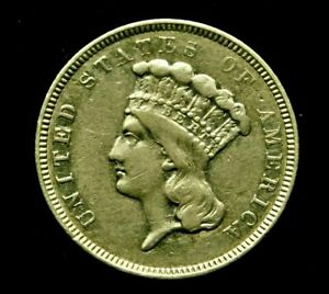 Ex Rare - 1854-O $3 Dollar Gold Indian Princess US Coin (New Orleans Mint)