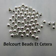 500 Silver Plated 5mm Brass Beads Highly Polished Round  Beads 110 Grams Approx.