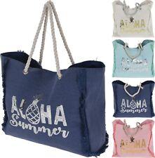 Beach Bag Ladies Large Holiday Summer Shopper Tote Rope Handle Boho Look