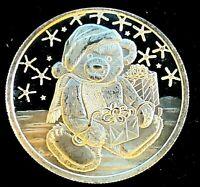 2002 1 oz .999 Fine Silver • Teddy Bear with Present Art Round