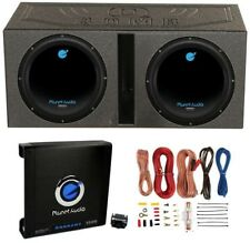 Planet Audio 12-Inch 1800W Subwoofers With Vented Lined Box Enclosure, Amp And