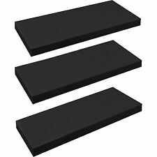 Pack of 3 Floating Wooden Wall Shelves Shelf Wall Storage 60cm - Black