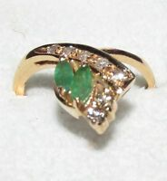 STUNNING SECONDHAND 18ct YELLOW GOLD EMERALD &  DIAMOND  RING SIZE L