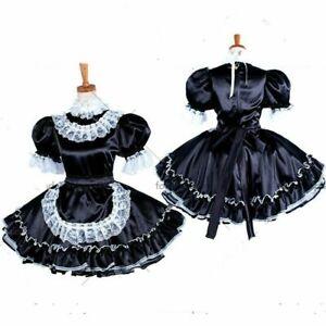 lockable Sissy maid Satin dress Uniform cosplay costume Tailor-made