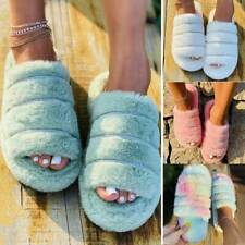 New Womens Fluffy Fur Slip On Slipper Warmer Casual Solid Flat Sandals Shoes