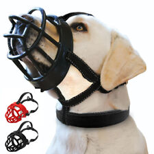 Strong Dog Muzzle Adjustable Basket Rubber No Bite Mouth Cage Reflective Black