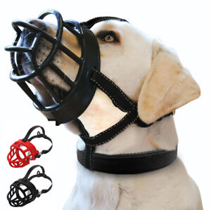 Strong Dog Muzzle Adjustable Basket Rubber No Bite Mouth Cage Reflective Black