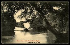 Ceylon Ethnic Vintage River scene with padda boat