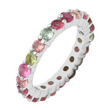 Alternate Multi Tourmaline Eternity Women Wedding Band Ring 925 Silver Stackable