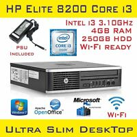 HP Elite 8200 Desktop USDT Intel Core i3-2120 4GB RAM 250GB HDD Win7Pro Wi-Fi