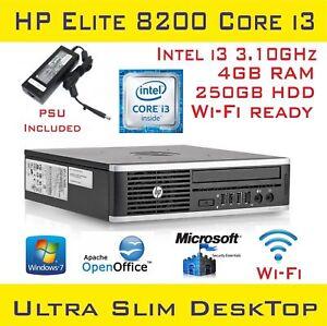HP Compaq 8200 Elite USDT Intel Core i3-2120 @3.1GHz 4GB RAM 250HDD Win-10 Wi-Fi