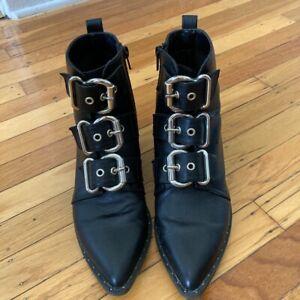 Women's Black Front Buckle Boots Winklepickers Ankle Boots 38