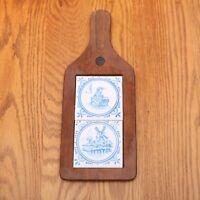 Vintage Ceramic and Wood Windmill & Lady Trivet Blue