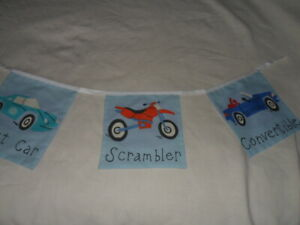 Blue Traffic Jam Vehicles Fabric party/play Bedding Bunting   9 flag