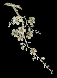 925 Sterling Silver Yellow Gold Plated Studded Flower Leaf Handmade Fine Brooch