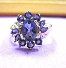 Vintage Beautiful 10K Yellow Gold Cluster Ring w/ Tanzanite & Diamonds sz8.5