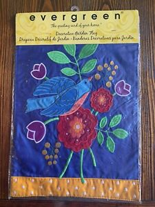 Evergreen Double Sided Birds and Flowers - Garden Flag 12x18