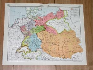 1937 HISTORICAL MAP GERMANY DURING NAPOLEON WARS POLAND PARTITIONS WARSAW DUCHY