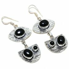 "Black Onyx Gemstone Handmade 925 Silver Jewelry Earring 2.72 "" AL-5269"