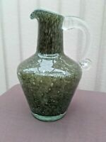 ***Vintage heavy glass jug pitcher green with clear handle italian? ***
