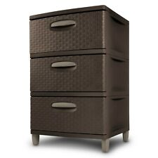 Storage Tower 3 Drawer Plastic Cabinet Clothes Organizer Box Espresso Bedroom US