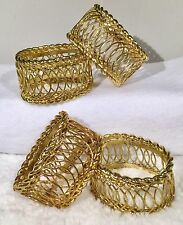 Beautiful Gold Toned Napkin Rings Holders Table Decor Wire Versatile Heavy